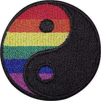 Rainbow Yin Yang Embroidered Iron Sew On Patch Symbol Sign Gay Pride Flag Badge