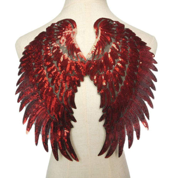 Red Angel Wings Iron On Patch / Sew On Large Cherub Wings Sequin Embroidered Badge Sequins Embroidery Applique