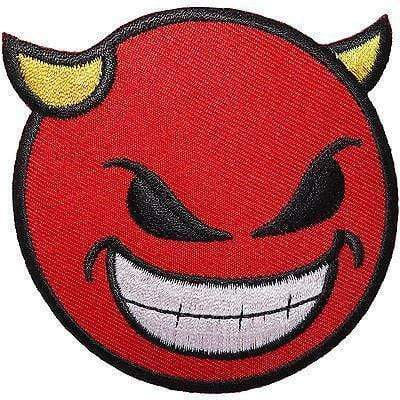 Red Devil Smiley Face Embroidered Iron / Sew On Patch T Shirt Coat Bag Hat Badge