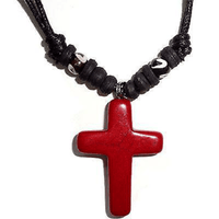 Red Jesus Cross Pendant Chain Necklace Mens Womens Ladies Boys Girls Jewellery