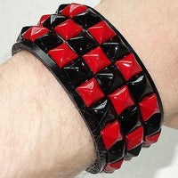 Red Pyramid Studded Checkerboard Bracelet Wristband Bangle Mans Woman Girl Boy