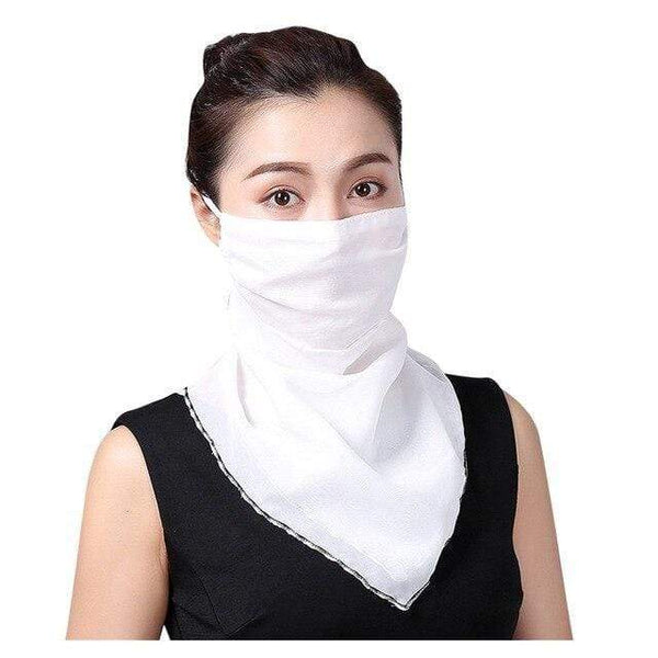 Reusable Face Mask Washable Face Covering Plain White Scarf Chiffon Silk Fabric