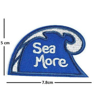 Sea More Iron On Patch Sew On Patch Wave Surfer Embroidered Badge Embroidery Applique