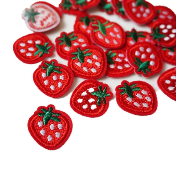 Set of 10 Small Strawberry Iron On Patches Sew On Patches Embroidered Badges Embroidery Appliques Motifs