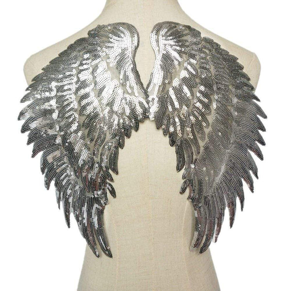 Silver Sequin Angel Wings Sew On Patch / Iron On Large Cherub Wings Embroidered Badge Sequins Embroidery Applique