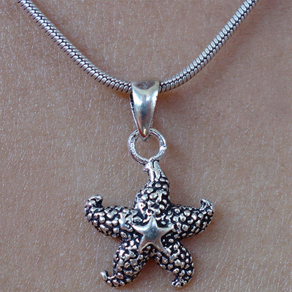 Silver Starfish Necklace Pendant Chain 925 Sterling Jewelry Womens Girls Ladies