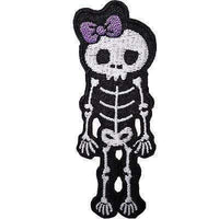 Skeleton Girl Embroidered Iron / Sew On Patch Motorcycle Motorbike Jacket Badge