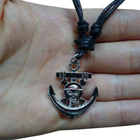Skull and Crossbones Anchor Pirate Pendant Chain Necklace Fancy Dress Mens Boys Skull and Crossbones Anchor Pirate Pendant Chain Necklace Fancy Dress Mens Boys