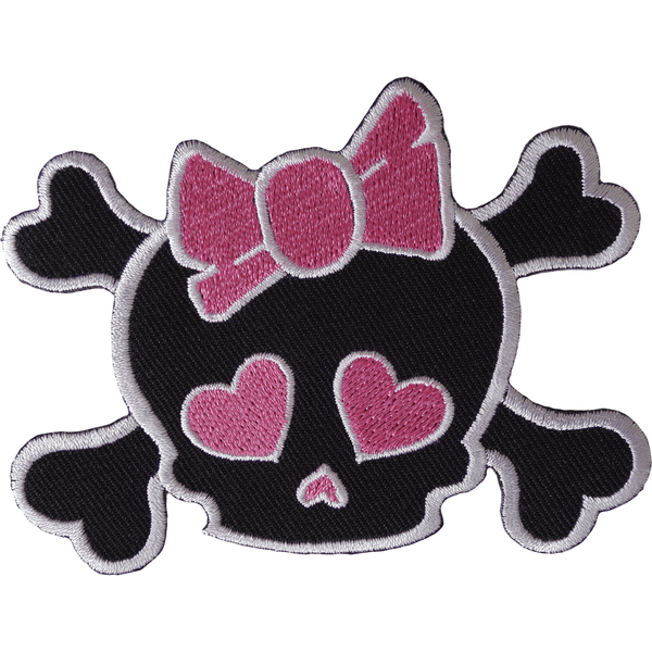 Skull Pink Hearts Bow Iron On Patch Sew On Girls Kids Clothes Embroidered Badge