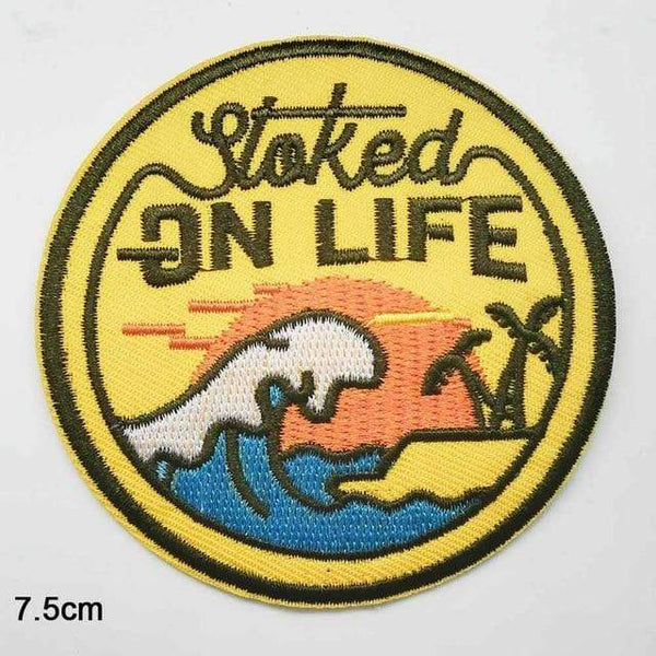 Stoked On Life Patch Iron On Sew On Surfer Embroidered Badge Sun Sea Beach Palm Trees Embroidery Applique