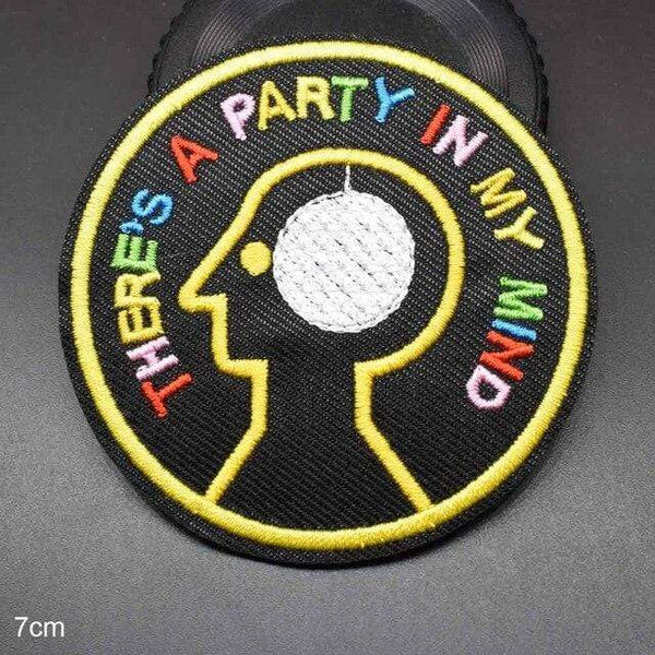 There's A Party In My Mind Iron On Patch Sew On Patch Embroidered Badge Embroidery Applique Motif