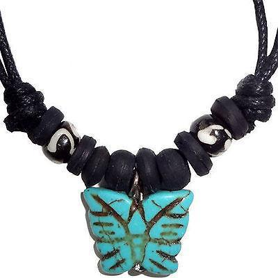 Turquoise Butterfly Pendant Chain Necklace Choker Ladies Womens Girls Jewellery