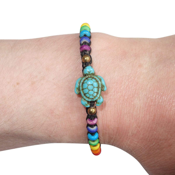 Turtle Bracelet Rainbow Wristband Bangle Mens Womens Ladies Boys Girls Jewelry
