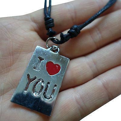 Valentines Day I Love You Heart Pendant Chain Necklace Silver Tone Girls Ladies