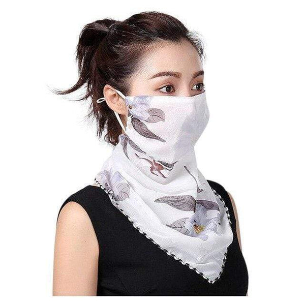 White Floral Reusable Fabric Face Mask Washable Face Covering Chiffon Silk Scarf