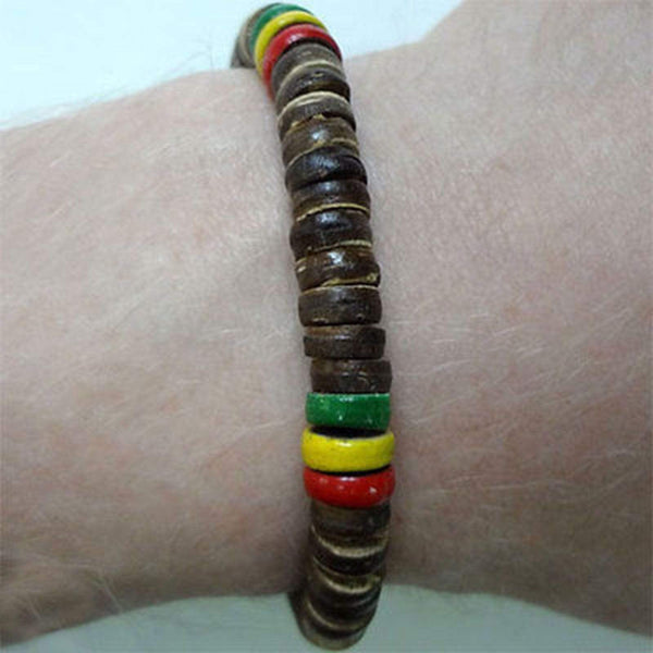 Wood Surfer Friendship Charm Bracelet Wristband Bangle Bob Marley Rasta Reggae