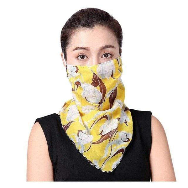 Yellow Floral Fabric Reusable Face Mask Washable Face Covering Chiffon Silk Scarf