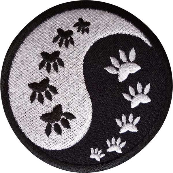 Yin and Yang Cat Paw Print Patch Embroidered Badge Applique Iron Sew On Clothes