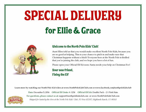 North Pole Kids' Club personalized special delivery note from Finley the elf