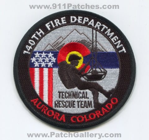 140th Wing Fire Department Technical Rescue Team USAF Military Patch Colorado CO