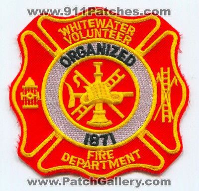 Whitewater Volunteer Fire Department Dept FD Rescue EMS Patch Wisconsin WI NEW