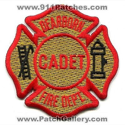 Dearborn Fire Department Cadet Dept FD Rescue EMS Patch Michigan MI Patches Gold
