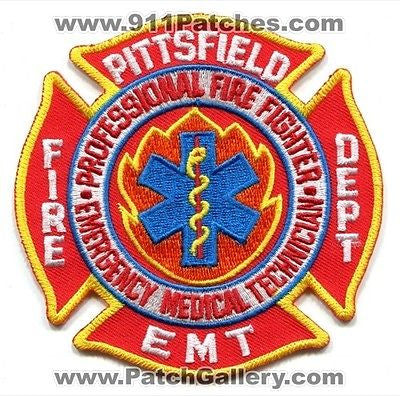 Pittsfield Fire Department EMT Professional FF Rescue EMS Patch Massachusetts MA