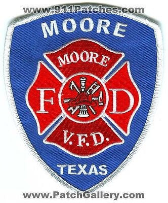 Moore Volunteer Fire Department Dept VFD Rescue EMS Patch Texas TX Patches NEW - SKU135 SKU265
