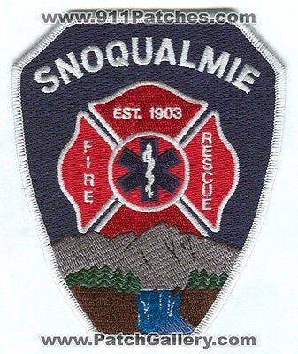 Snoqualmie Fire Rescue Department Dept FD EMS Patch Washington WA Patches White