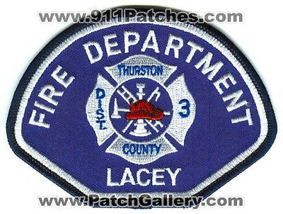 Lacey Fire Department Thurston County District 3 Rescue Patch Washington WA USED - SKU101