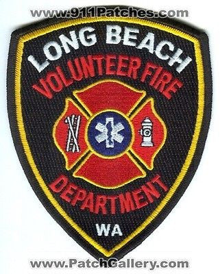 Long Beach Volunteer Fire Department Dept Rescue EMS Patch Washington WA SKUB3