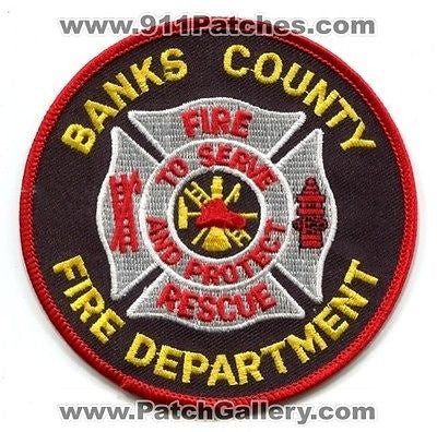 Banks County Fire Rescue Department Dept FD EMS Patch Georgia GA Patches Yellow - SKU41
