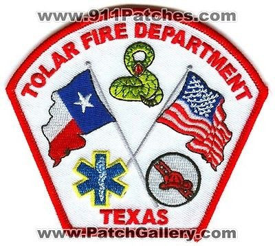 Tolar Fire Department Dept TFD Rescue EMS Flags Snake Patch Texas TX Patches NEW