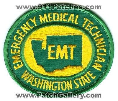 Washington State Emergency Medical Technician EMT EMS Certified Fire Patch Washington WA Green - SKU188