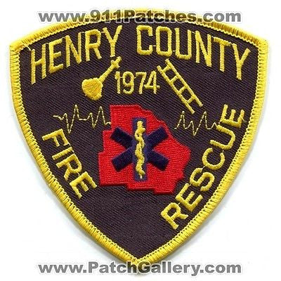 Henry County Fire Rescue Department Dept FD EMS Patch Georgia GA Patches Black