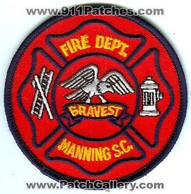 Manning Fire Department Dept MFD Rescue EMS Bravest Patch South Carolina SC - SKU110