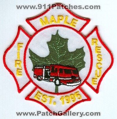 Maple Fire Rescue Department Patch Unknown State - SKU110