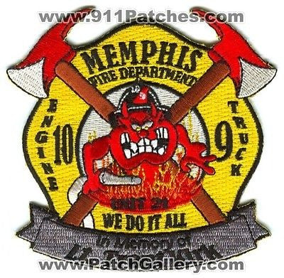 Memphis Fire Department Engine 10 Truck 9 Unit 21 In Memory Patch Tennessee TN SKU119 SKU253