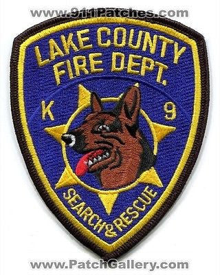 Lake County Fire Department K-9 Search and Rescue Patch Florida FL