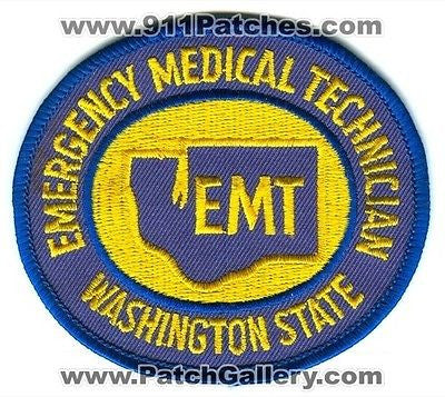 Washington State Emergency Medical Technician EMT EMS Fire Patch Washington WA Blue Yellow