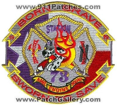 Houston Fire Station 73 Company Engine Sqaud Ambulance EMS Patch Texas TX Purple - SKU97