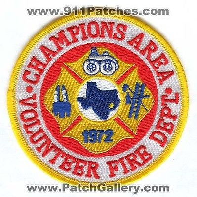 Champions Area Volunteer Fire Department Dept FD Rescue EMS Patch Texas TX NEW SKU56 SKU249