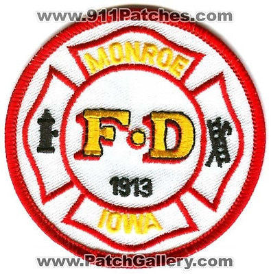 Monroe Fire Department Dept MFD Rescue EMS 1913 Patch Iowa IA Patches NEW