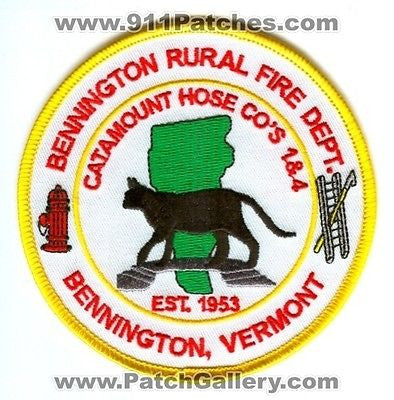 Bennington Rural Fire Department Catamount Hose Co 1 4 Patch Vermont VT 4.00 In - SKU44