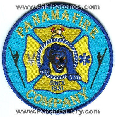 Panama Fire Company Department Rescue EMS Panther Patch New York NY Patches Blue - SKU156