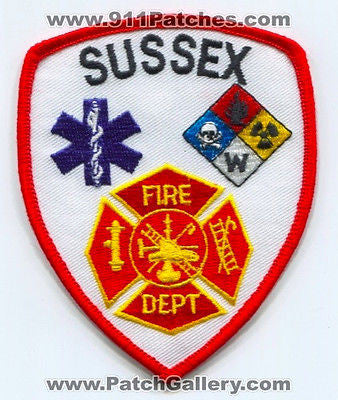 Sussex Fire Department Dept SFD Rescue EMS Patch Wisconsin WI Patches NEW