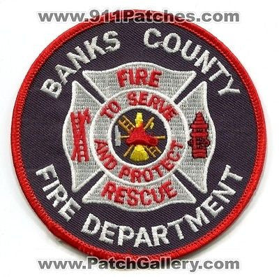 Banks County Fire Rescue Department Dept FD EMS Patch Georgia GA Patches White