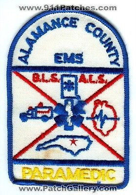 Alamance County EMS Paramedic Emergency ALS BLS Fire Patch North Carolina NC OLD