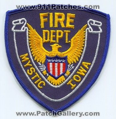 Mystic Fire Department Dept MFD Rescue EMS Patch Iowa IA Patches NEW