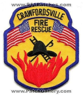 Crawfordsville Fire Rescue Department Dept FD EMS Flags Patch Indiana IN Patches